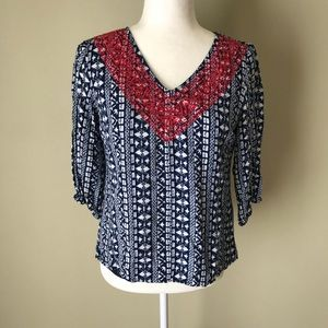 Skies are Blue 3/4 Sleeve Red White Blue Top Small
